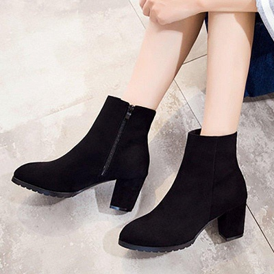 Zipper Chunky Heel Daily Pointed Toe Boots On Sale_4