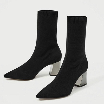 Black Chunky Heel Daily Pointed Toe Boots On Sale_1