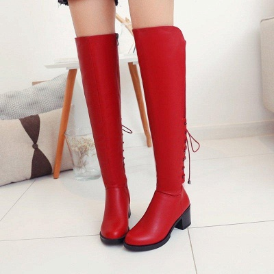 Lace-up Dress Round Toe Elegant Chunky Heel Boots On Sale_1