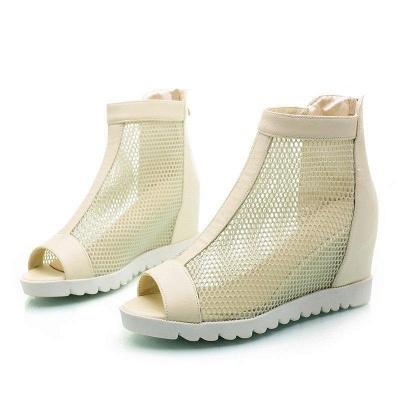 Zipper Daily Peep Toe Wedge Heel Boots On Sale_2