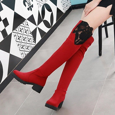 Blue Suede Daily Chunky Heel Pointed Boots On Sale_5
