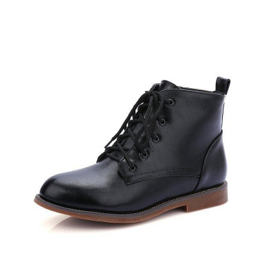 Low Heel Lace-Up Pointed Boots On Sale_2