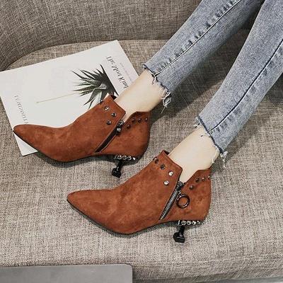 Rivet Kitten Heel Suede Boots On Sale_3