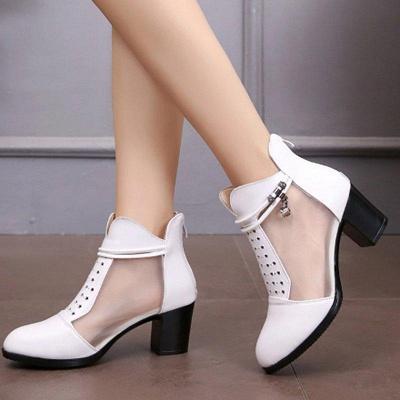 Beading Chunky Heel Round Toe Zipper Boots On Sale_3