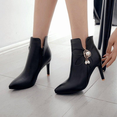 Stiletto Heel Pearl Daily Pointed Toe Elegant Boots On Sale_5