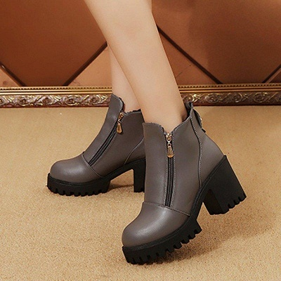 Zipper Chunky Heel Daily Round Toe Boots On Sale_7