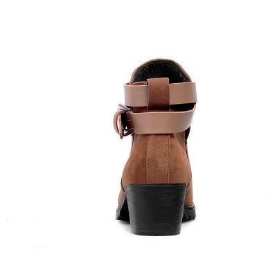 Buckle Chunky Heel Pointed Toe Elegant Boots On Sale_8