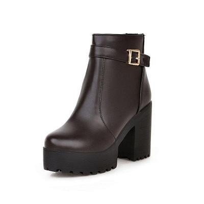 Daily PU Chunky Heel Round Toe On Sale_4