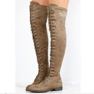 Lace-up Daily Chunky Heel Round Toe Boots On Sale_4