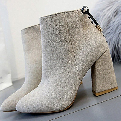 Chunky Heel Daily Lace-up Pointed Toe Zipper Boots On Sale_6