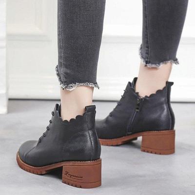 Chunky Heel Zipper Round Toe Boots On Sale_4