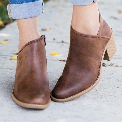 Womens Fashion Ankle Zipper Pointed Toe Chunky Booties On Sale_3