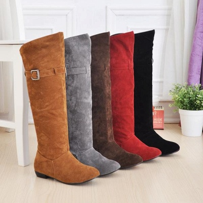Suede Daily Wedge Heel Buckle Boots On Sale_1