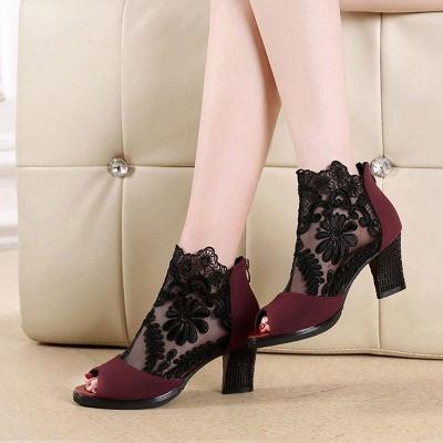 Daily Chunky Heel Embroidery Peep Toe Zipper Boots On Sale_4