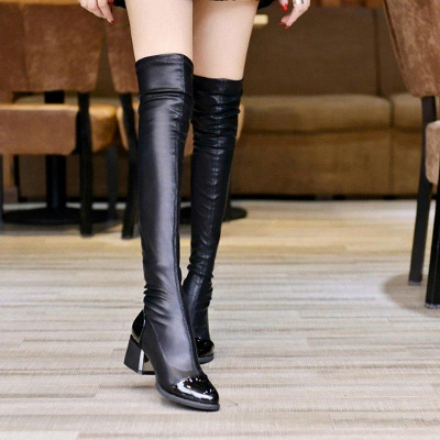 Daily Pointed Toe Chunky Heel Elegant Boots On Sale_2