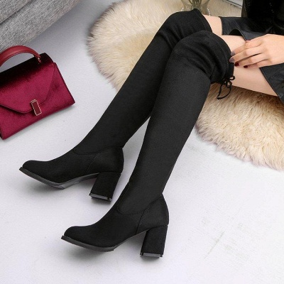 Black Suede Daily Chunky Heel Round Toe Boots On Sale_2