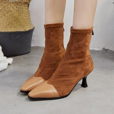 Zipper Cone Heel Daily Pointed Toe Boots On Sale_5