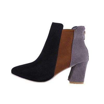Zipper Daily Chunky Heel Pointed Toe Suede Boots On Sale_9