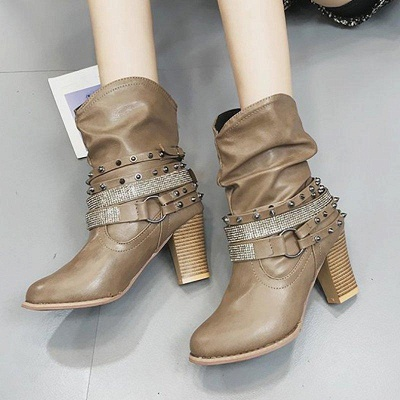 Rivet Chunky Heel Daily Pointed Toe Boots On Sale_4