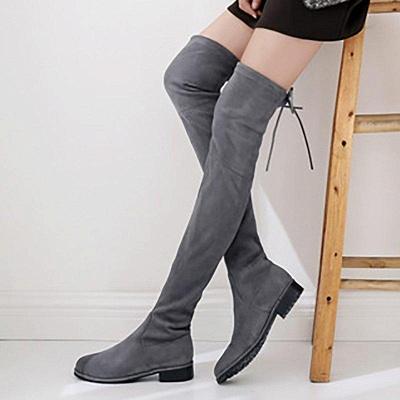 Suede Chunky Heel Buckle Boot On Sale_6