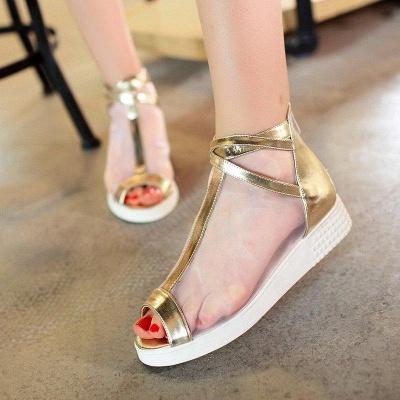 Zipper Daily Peep Toe Wedge Heel Elegant Boots On Sale_2