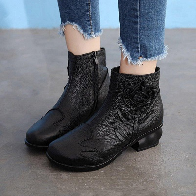 Chunky Heel Leather Flower Round Boots On Sale_6