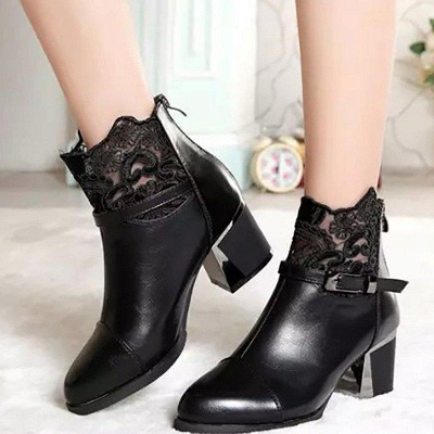 Daily Buckle Chunky Heel Pointed Toe Zipper Boots On Sale_2