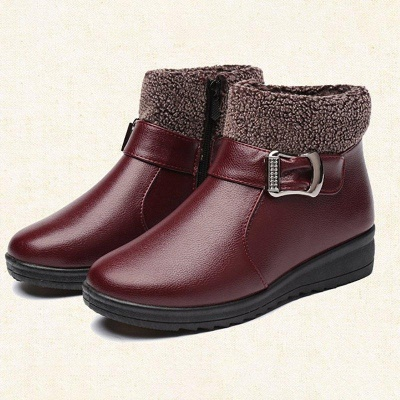 Wedge Heel Daily Zipper Round Toe Buckle Boots On Sale_6