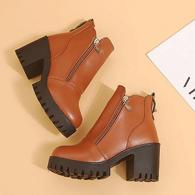 Zipper Chunky Heel Daily Round Toe Boots On Sale_10