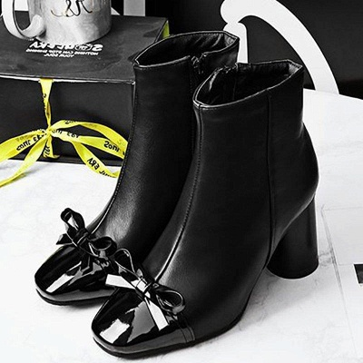 Daily Zipper Square Toe Bowknot Chunky Boots On Sale_1