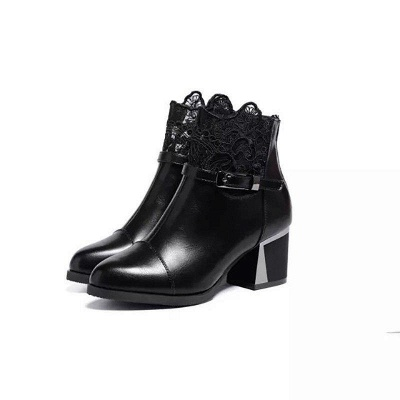 Daily Buckle Chunky Heel Pointed Toe Zipper Boots On Sale_6