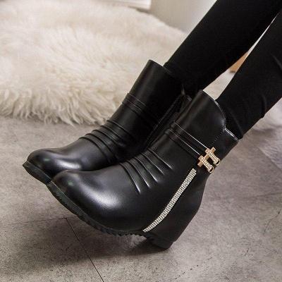 Daily Zipper PU Wedge Heel Round Toe Elegant Boots On Sale_5