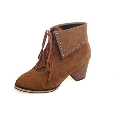 Chunky Heel Daily Rhinestone Pointed Toe Boots On Sale_9
