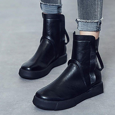 Zipper Daily Round Toe Flat Heel Boots On Sale_4