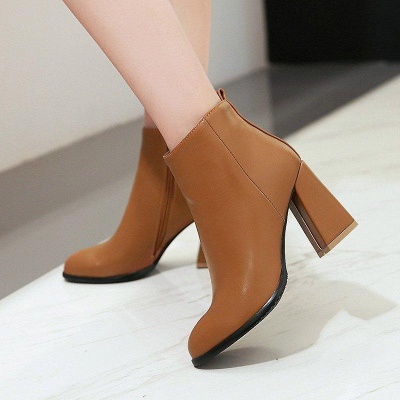 Chunky Heel Zipper Daily Pointed Toe Boots On Sale_9