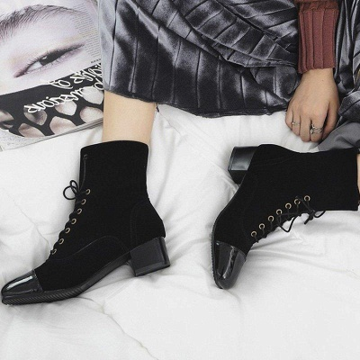 Rivet Chunky Heel Daily Square Toe Boots On Sale_4
