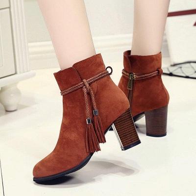 Chunky Heel Daily Tassel Zipper Boots On Sale_4