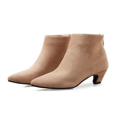Chunky Heel Zipper Daily Pointed Toe Elegant Boots On Sale_5