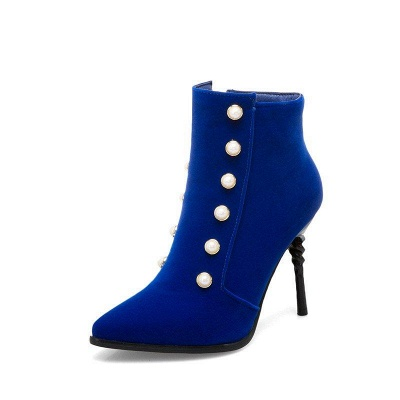 Suede Daily Stiletto Heel Pointed Toe Zipper Boots On Sale_11
