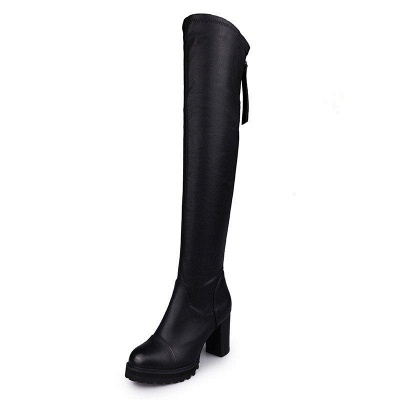 Black Fall Chunky Heel Zipper Boots On Sale_4