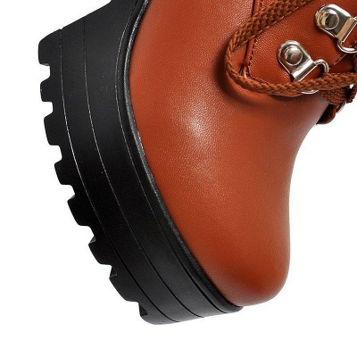 Chunky Heel Lace-up PU Daily Round Boots On Sale_8