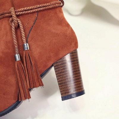Chunky Heel Daily Tassel Zipper Boots On Sale_9