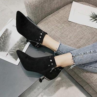 Rivet Kitten Heel Suede Boots On Sale_6