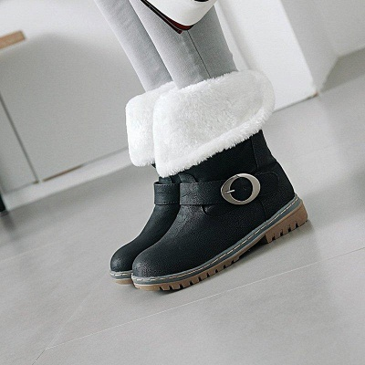 Women's Boots Round Toe Black Low Heel Boots On Sale_1