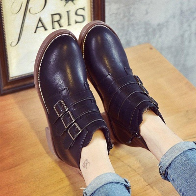 Zipper Daily Chunky Heel Round Toe Boots On Sale_3