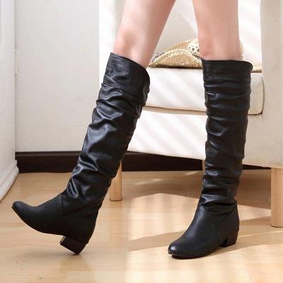 Chunky Heel Daily PU Round Boots On Sale_3