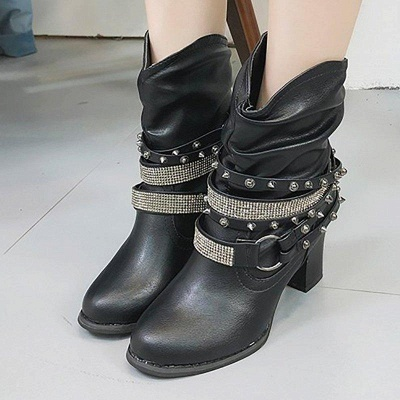 Rivet Chunky Heel Daily Pointed Toe Boots On Sale_2