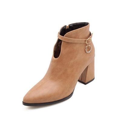 Daily PU Chunky Heel Boots On Sale_2