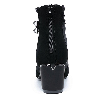 Daily Mesh Fabric Zipper Round Toe Boots On Sale_4