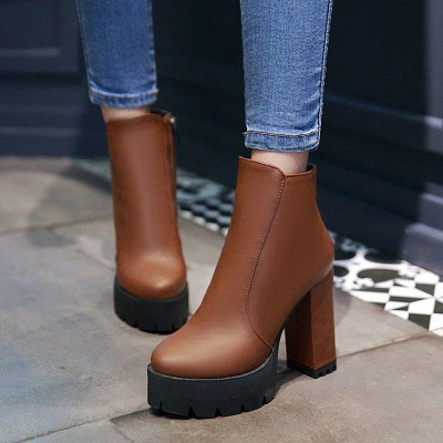 Chunky Heel Daily Zipper Round Boots On Sale_2